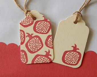 Funky Pomegranate Outline Olive Wood Stamp