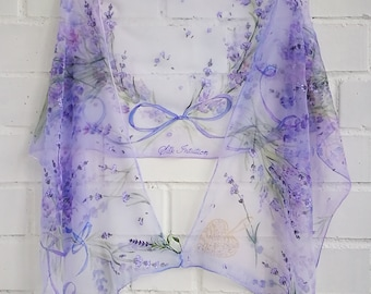 Lavenders scarf Purple Blue Violet scarves Floral spring summer scarf Hand painted Chiffon lavender wrap square Wedding accessory