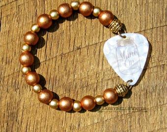 Guitar Pick Bracelet Shine On Mason Jar copper gold wood beads Southern charm pride saying phrase moonshine country girl rocker music