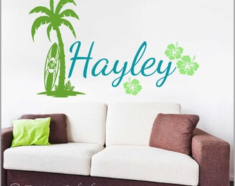 Surfer Girl's Personalized Name with Palm Tree, Surfboard and Hibiscus Flowers Vinyl Wall Decal Set, Girl's Beach Wall Decor NM-132
