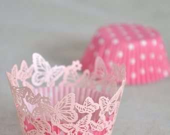 50x Pink Butterfly Cupcake Wrapper for Wedding Party Cake Tree  Decoration | Reception Centerpiece Baking Decor