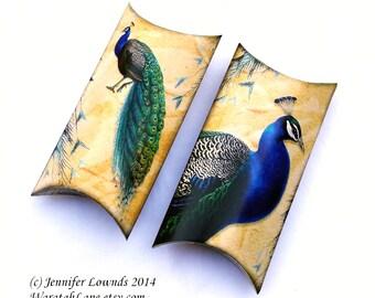 Printable Gift Box Pillow Box peacock wedding favour favor box bonbonniere boxes pillow boxes gift boxes wedding theme C