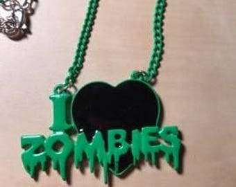 """Green & Black """"I Love Zombies"""" Choker Pendant Necklace, Zombie Jewelry, Zombie Findings"""