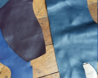 Scraps of leather: blue&burgundy
