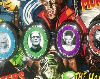 Compact mirror-Universal Monsters-Dracula, Bride, Frankenstein, and/or Creature from the black lagoon oval with sparkle finish