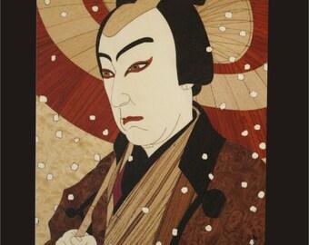 Wall Decor, Kabuki Actor Wood Block Inlay