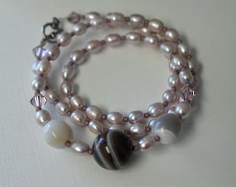 Lavender Pearl Necklace Botswana Agate Necklace Ready to Ship