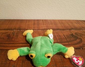 "Vintage ""Smoochy"" Beanie Baby, Retro Toys, Retired, Collectible, Plushies Toys, Frog stuffed animal"