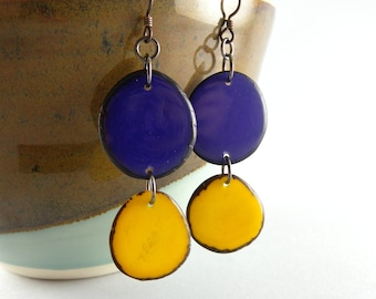 Purple and Yellow Tagua Nut Eco Friendly Earrings with Free USA Shipping #taguanut #ecofriendlyjewelry