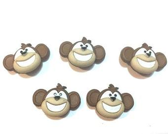 Monkey Buttons Monkey See Monkey Do Dress It Up Buttons Jesse James Buttons Smile Choice Set of 5 Shank Flat Back Craft Supply - 782 A B C D