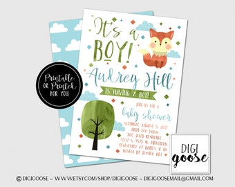Fox BABY SHOWER Invitations // Fox Invitations // Baby Shower Invitations // It's a Boy // Scandinavian // Watercolor // Boy // Girl
