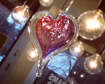 Hanging Handblown Glass Heart