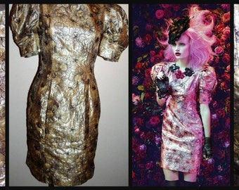 Vintage 1990's floral embroidered puff sleeve stunning satin Shinny Lights dress by Alannah Hill (made in Australia) / size: 10