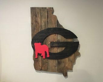 University of Georgia UGA Bulldogs Reclaimed Wood Wall Art Sign