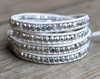 Beaded Leather Wrap Bracelet 4 or 5 Wrap with Silver Tone and Clear Crystal Czech Glass Beads on White Leather Bridal Wedding Bracelet