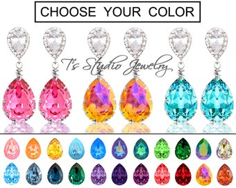 """CHOOSE YOUR COLOR Pear Shaped Crystal Bridesmaid Earrings - """"Maggie"""" - Silver"""