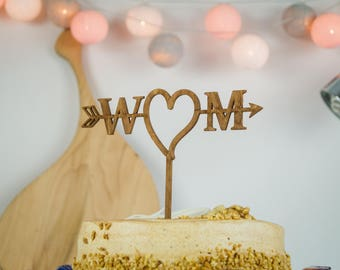Rustic Wedding Cake Topper, Cake Topper, Mr & Mrs Cake Topper, Personalized Cake Topper, Custom Cake Topper, Anniversary Cake Topper