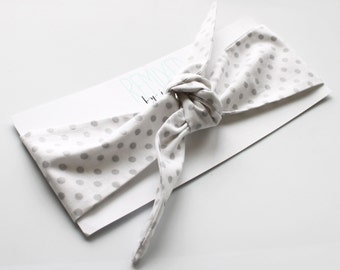 Vintage Inspired Head Scarf White with Gray Polka Dots - Headband