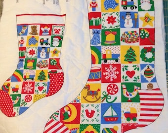 Vintage Pre-Quilted Panel - Christmas Stockings - Springs Mills Fabrics - Cut and Sew Fabric Panel