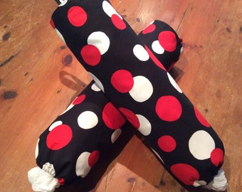 Retro Black, Red & White Large Spot Plastic Bag Dispensers, Holders, Quality Hand Made,  50cm x 40cm