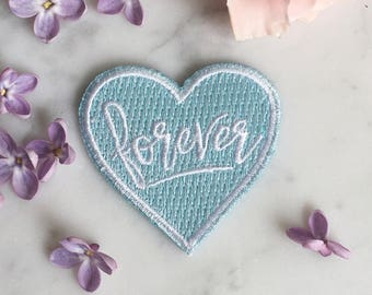 Forever Heart Patch - Iron-On - Embroidered Applique - Patches - Something Blue - Wedding - Bride - Bridal - Wildflower + Co.
