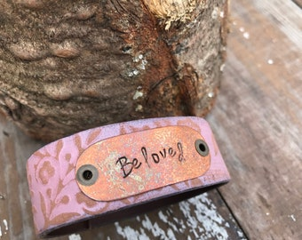 Stamped Leather Cuff-Beloved-Word Cuff-Loved Collection-Valentines Gift