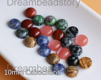 4 Pieces 10mm Round Back Flat Natural Stone Cabochons Wholesale (HX255)