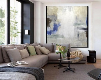 Large Framed Abstract Painting Original Modern Art Taupe Navy Oil Painting FLOATER FRAMING AVAILABLE Contemporary Art Wall Decor Sky Whitman
