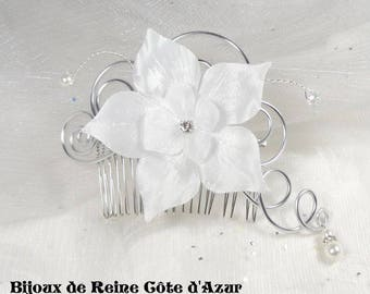Hair comb wedding flower in white silk in stock - elegant white wedding comb Collection