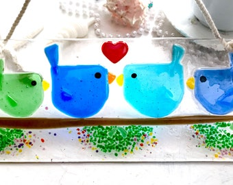 Fused Glass Love Birds Suncatcher