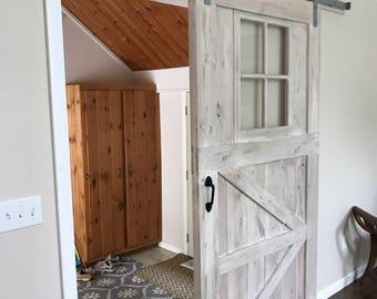 Two custom window barn doors for Hillary
