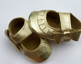 Gold Mary Jane Moccasins with Side Bows and Velcro Close