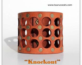 Leather bracelet woman - Brown leather bracelet cuff - Womens leather wristband -  Statement Bracelet - Biker chick cuff bracelet