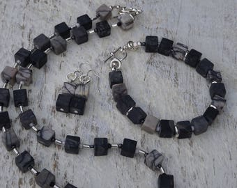 Jasper Cube Set necklace earrings and bracelet