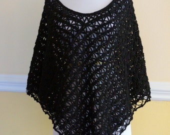 Black lacy, shimmery poncho