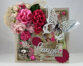 Beautiful Handmade Flower Greeting Card, Floral, Pink Flowers, Butterfly, 3D, Embellished, Laugh, Happy Birthday, Mother's Day