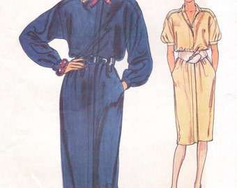80s Womens Blouson Shirtdress with Concealed Closing Very Easy Vogue Sewing Pattern 8731 Size 14 16 18 Bust 36 38 40 UnCut