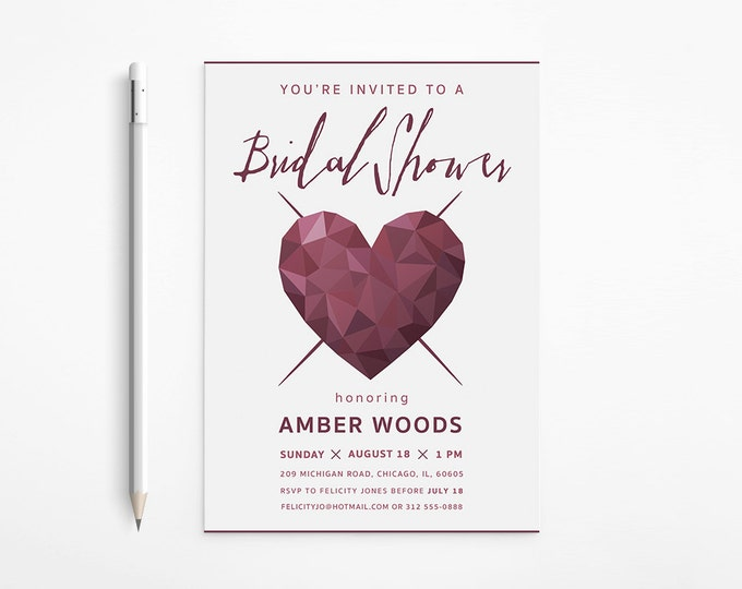 PRINTABLE - Modern Heart Bridal Shower Invitation - Dark Red - Geometric - Faceted - Free changes