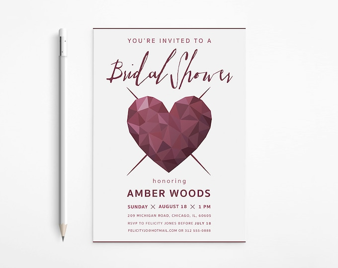 Modern Heart Bridal Shower Invitation, Dark Red, Geometric, Faceted, Printable