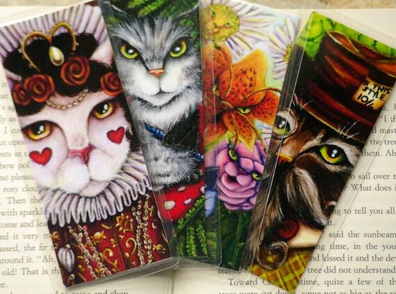 Alice in Wonderland Cat Bookmark Set