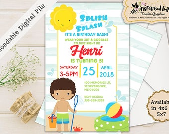 Pool Party Birthday Invitation with different boy options/ Custom Pool Party Birthday Invitation/ Pool Party Birthday Invitation