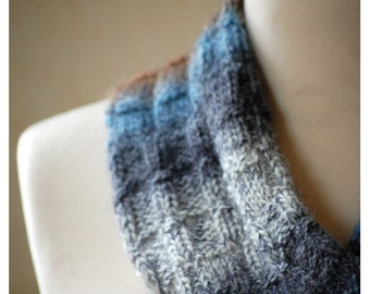 Hand Knit Cowl, Wrap, Scarf, Loop, Wool Yarn, Blue, Navy, Marl,