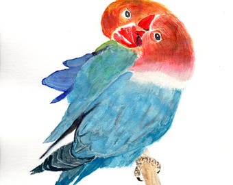 Original Painting in watercolor of a Pair of Blue Love Birds