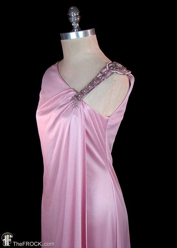 SAKS 5th Ave jersey toga dress rhinestone & pearl beads