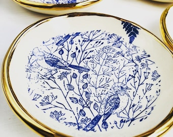Gold, Blue Birds, Porcelain, Small Plate, Wedding Gift, Limited Edition - Made in Australia