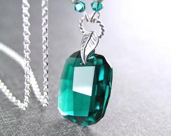Swarovski Crystal Emerald Necklace, Sterling Silver Necklace, May Birthstone, Emerald Pendant Necklace, Emerald Green Crystal Necklace