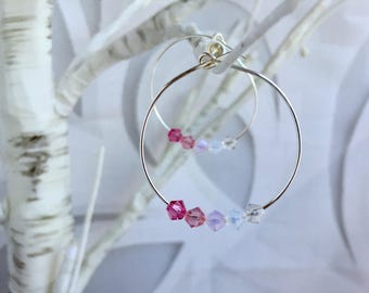 Shades of Pink Swarovski Crystal hoop earrings pink Crystal earrings,  silver plated hoop earrings Swarovski jewelry, pink hoops valentine's