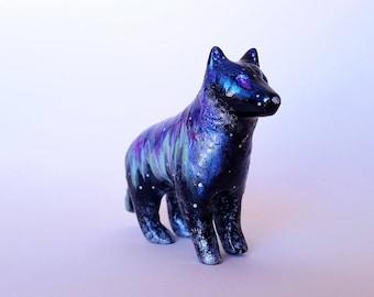 Northern Lights Wolf - paper clay sculpture art // RTS // aurora artwork // black wolf art // tundra painting // silver // snowy night