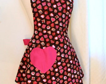Womens Apron in Chocolate Candies Print