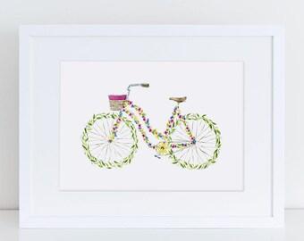 Floral Beach Cruiser Bicycle Fine Art Watercolor Print